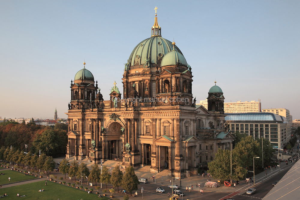 Berliner Dom or Berlin Cathedral, redesigned by Julius Raschdorff and completed 1905 in Historicist style after being badly damaged in World War Two, although the original chapel on this site was consecrated in 1454, Museum Island, Mitte, Berlin, Germany. The buildings on Museum Island were listed as a UNESCO World Heritage Site in 1999. Picture by Manuel Cohen