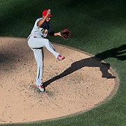 NEW YORK, NEW YORK - July 26: Pitcher Carlos Martinez #18 of the St. Louis Cardinals pitching in the late afternoon sunshine during the St. Louis Cardinals Vs New York Mets regular season MLB game at Citi Field on July 26, 2016 in New York City. (Photo by Tim Clayton/Corbis via Getty Images)