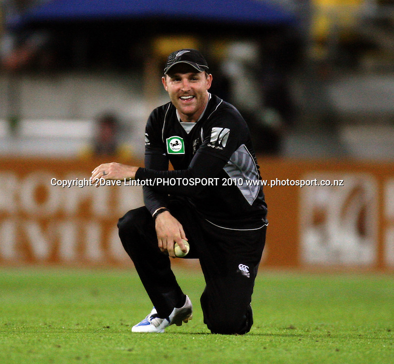 NZ's Brendon McCullum grins after a fielding fumble.<br /> Fifth Chappell-Hadlee Trophy one-day international cricket match - New Zealand v Australia at Westpac Stadium, Wellington. Saturday, 13 March 2010. Photo: Dave Lintott/PHOTOSPORT