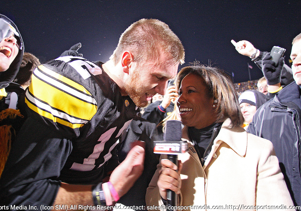 October 10, 2009: Iowa quarterback Ricky Stanzi (12) does a post game interview after the Iowa Hawkeyes' 30-28 win over the Michigan Wolverine's at Kinnick Stadium in Iowa City, Iowa on October 10, 2009.
