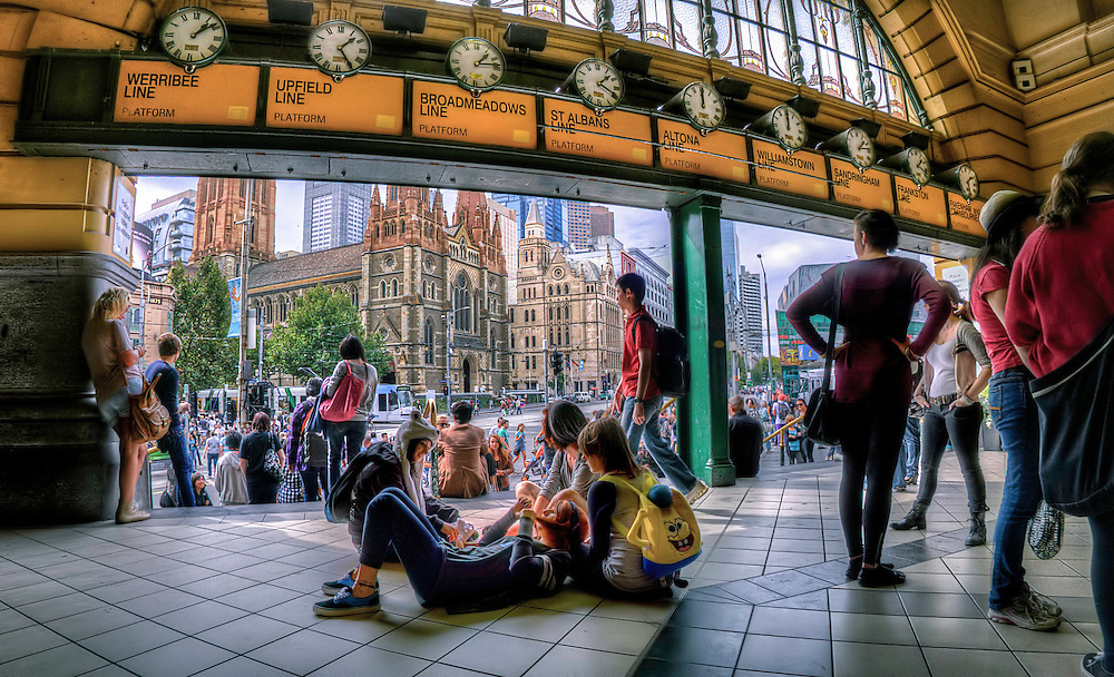 Flinders Street Station, inside under the clocks. Melbourne in HDR (High Dynamic Range), for The Age iPad App. Pic By Craig Sillitoe CSZ/The Sunday Age 29/5/2011 This photograph can be used for non commercial uses with attribution. Credit: Craig Sillitoe Photography / http://www.csillitoe.com<br />