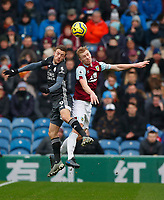 Football - 2019 / 2020 Premier League - Burnley vs. Leicester City<br /> <br /> Ben Mee of Burnley and Jamie Vardy of Leicester City at Turf Moor.<br /> <br /> COLORSPORT