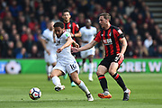 Andros Townsend (10) of Crystal Palace on the attack with Dan Gosling (4) of AFC Bournemouth chasing him during the Premier League match between Bournemouth and Crystal Palace at the Vitality Stadium, Bournemouth, England on 7 April 2018. Picture by Graham Hunt.