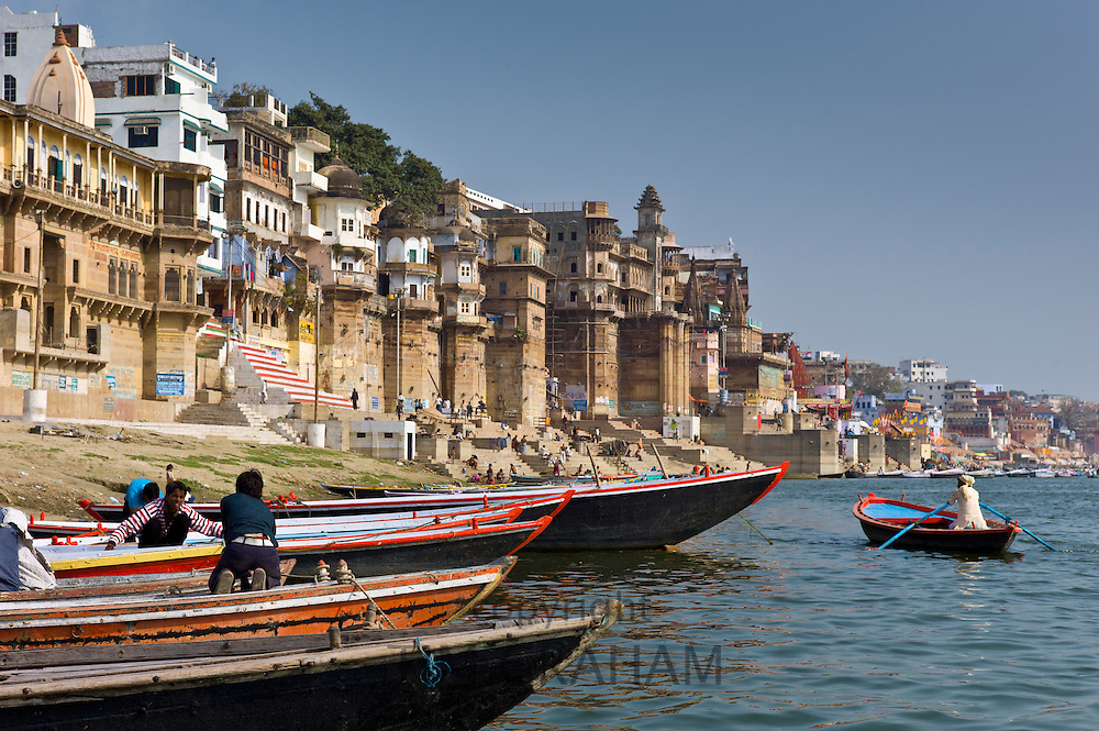 Boats in The Ganges River at Ranamahal Ghat and Chousatti Ghat in Holy City of Varanasi, Benares, India