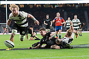 Twickenham, Surrey. England.  Akker van der MERWE and Willie BRITZ chasing the loss ball, as Beauden BARRETT. loses the ball,  during the Killik Cup, Barbarians vs New Zealand. Twickenham. UK<br /> <br /> Saturday  04.11.17<br /> <br /> [Mandatory Credit Peter SPURRIER/Intersport Images]
