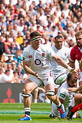 Twickenham, Surrey, World Cup, Sunday, Sunday, 11/08/2019  2019 World Cup, Warm up match, Quilter International, England vs Wales, at the RFU Stadium  [© Peter SPURRIER/Intersport Image]<br /> <br /> 14:20:09 Tom Curry of England set to collect the pass,