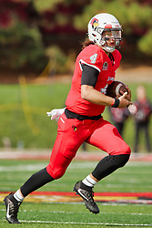NORMAL, IL - October 13: Brady Davis during a college football game between the ISU (Illinois State University) Redbirds and the Southern Illinois Salukis on October 13 2018 at Hancock Stadium in Normal, IL. (Photo by Alan Look)