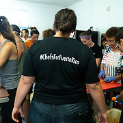 JULY 20, 2018---HATO REY, PUERTO RICO----<br /> Executive Chef Griselle Vila,  back to camera,  is part of the World Central Kitchen initiative in Puerto Rico which came to prominence following the aftermath of the devastation left by Hurricane Maria in Puerto Rico. She supervises volunteers preparing food to be delivered during the day.<br /> (Photo by Angel Valentin/Freelance)