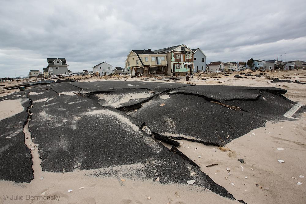 November 18, Ortley Beach, NJ, Road closet to the Atlantic ocean destroy by Superstorm Sandy's surge
