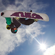 in action during the Women's Half Pipe Qualification in the LG Snowboard FIS World Cup, during the Winter Games at Cardrona, Wanaka, New Zealand, 27th August 2011. Photo Tim Clayton..