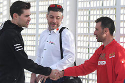 February 23, 2019 - Abu Dhabi, United Arab Emirates - (Left-Right) Vincenzo Nibali (Right) of Italy and Team Bahrain-Merida, meets Tom Dumoulin (Left) of Netherlands and Team Sunweb, ahead of Top Riders Photo session at the entrance to the Louvre Abu Dhabi Museum..On Saturday, February 23, 2019, Abu Dhabi, United Arab Emirates. (Credit Image: © Artur Widak/NurPhoto via ZUMA Press)