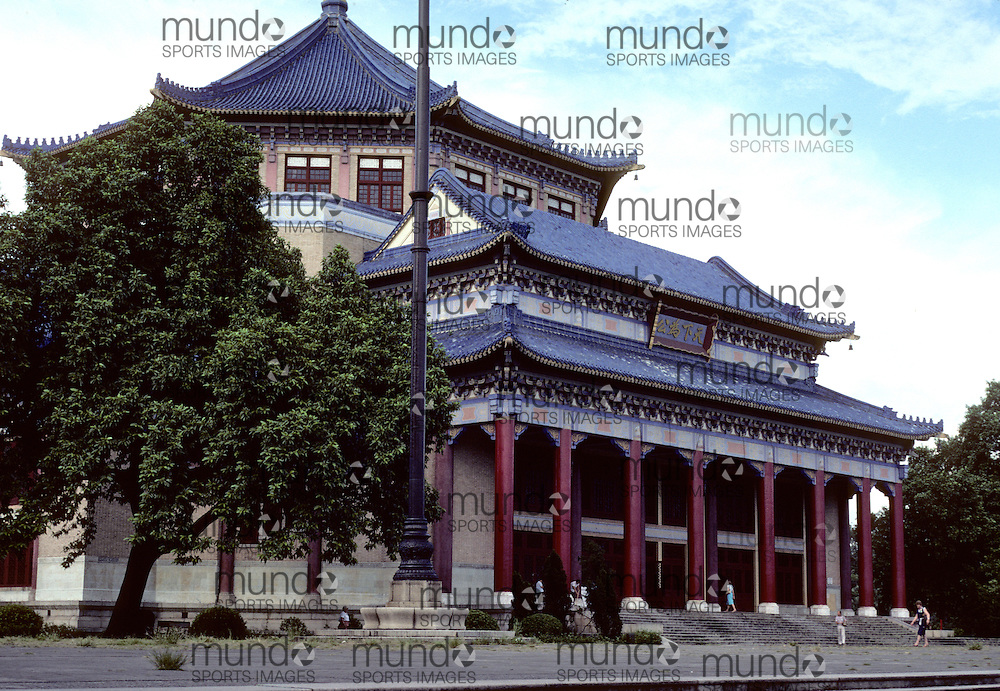 The Sun Yat Sen Memorial Hall in Guangzhou in Guangdong province of the People's Republic of China. The photograph was taken 1981 when China was first starting to open up to the rest of the world by allowing in specially guided tour groups.