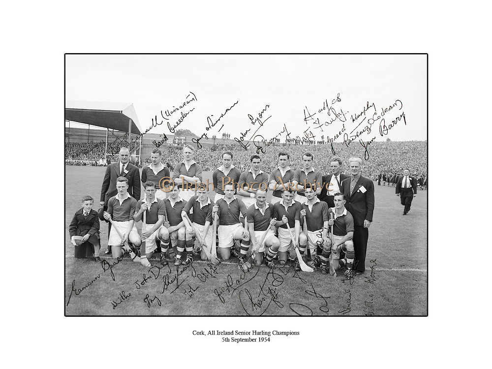 Cork, All Ireland Senior Hurling Champions, 5th September 1954, 05/09/1954.