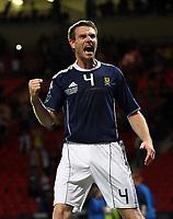 Football - UEFA Euro 2012 Qualifier - Scotland v Liechtenstein<br /> Stephen McManus celebrates his 97th minute goal during the Scotland v Liechtenstein UEFA Euro 2012 Qualifier, Hampden Park