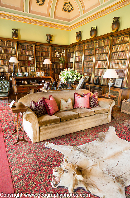 Library room inside Bowood House and gardens, Calne, Wiltshire, England, UK