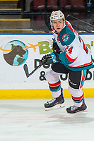 KELOWNA, BC - FEBRUARY 15:  Kyle Topping #24 of the Kelowna Rockets skates against the Everett Silvertips at Prospera Place on February 15, 2019 in Kelowna, Canada. (Photo by Marissa Baecker/Getty Images)