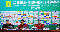 NANNING, CHINA - Sunday, March 25, 2018: Wales' new manager Ryan Giggs, captain Ashley Williams and Gareth Bale during a press conference at the Guangxi Sports Centre ahead of the 2018 Gree China Cup International Football Championship final match against Uruguay. (Pic by David Rawcliffe/Propaganda)