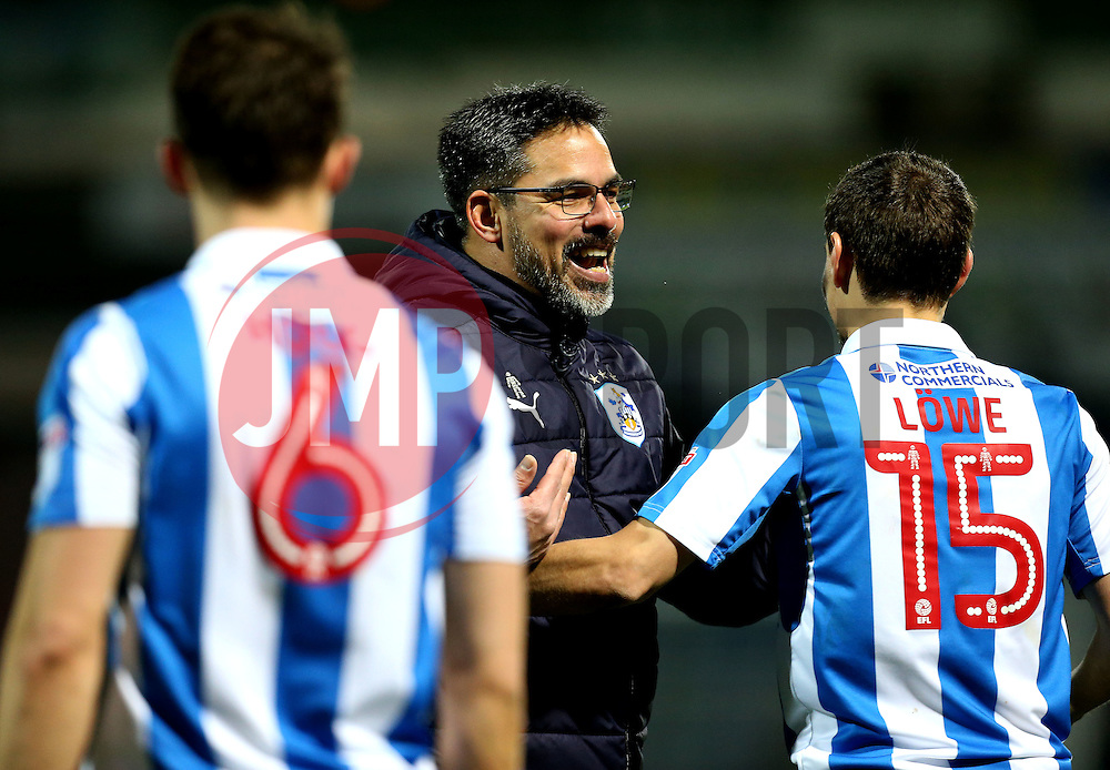 Huddersfield Town manager David Wagner celebrates the win over Brighton & Hove Albion with his players - Mandatory by-line: Robbie Stephenson/JMP - 02/02/2017 - FOOTBALL - John Smith's Stadium - Huddersfield, England - Huddersfield Town v Brighton and Hove Albion - Sky Bet Championship