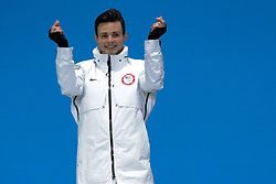 February 18, 2018 - Pyeongchang, South Korea - JOHN-HENRY KRUEGER of the United States celebrates getting the silver medal in the Men's 1000m short track speed skating event in the PyeongChang Olympic Games. (Credit Image: © Christopher Levy via ZUMA Wire)