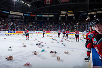KELOWNA, CANADA - DECEMBER 2: The Kelowna Rockets skate to collect all the teddy bears during the annual teddy bear toss against the Kootenay Ice on December 2, 2017 at Prospera Place in Kelowna, British Columbia, Canada.  (Photo by Marissa Baecker/Shoot the Breeze)  *** Local Caption ***