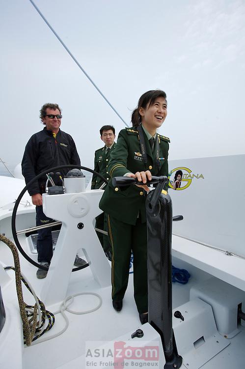 Escale du Maxi catamaran Gitana 13 a Dalian en Chine.