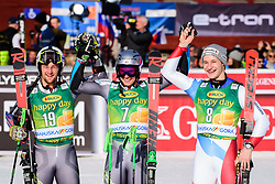 March 9, 2019 - Kranjska Gora, Kranjska Gora, Slovenia - Winners of the Audi FIS Ski World Cup Vitranc on March 8, 2019 in Kranjska Gora, Slovenia on the podium. From left: Rasmus Windingstad of Norway, Henrik Kristoffersen of Norway and Marco Odermatt of Switzerland. (Credit Image: © Rok Rakun/Pacific Press via ZUMA Wire)