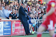 John Coleman Manager of Accrington with his head in his hands during the EFL Sky Bet League 1 match between Accrington Stanley and Blackpool at the Fraser Eagle Stadium, Accrington, England on 21 September 2019.
