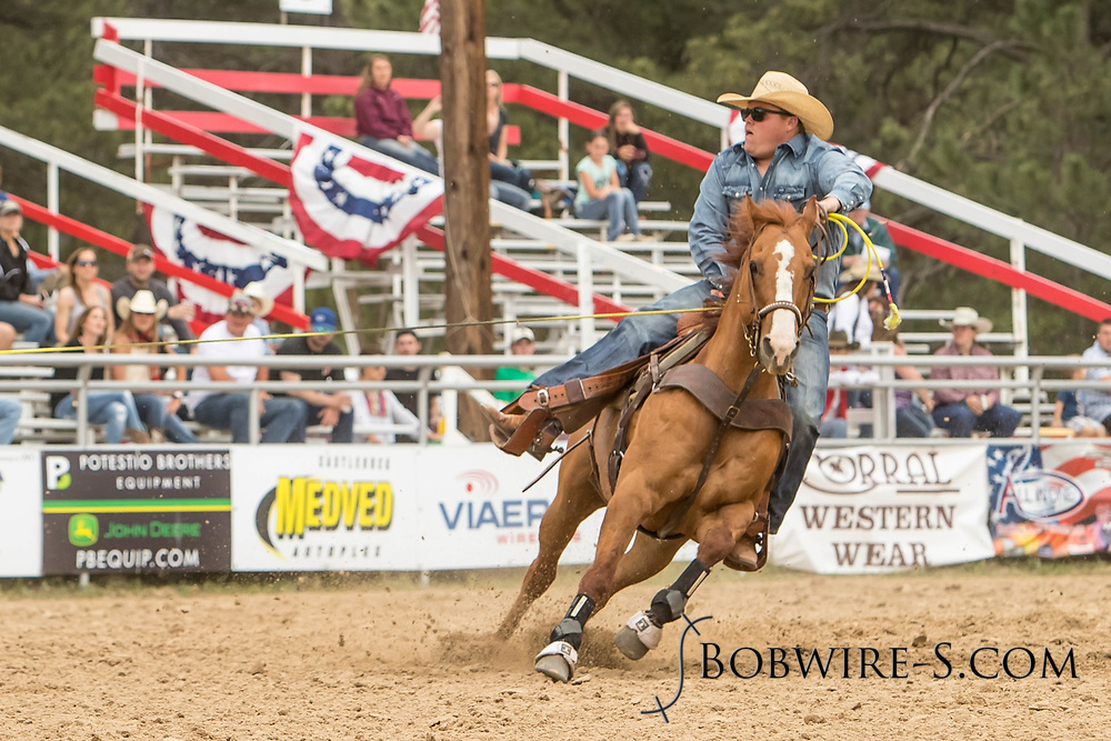 Header Robert Reed makes his team roping run during the third performance of the Elizabeth Stampede on Sunday, June 3, 2018.
