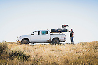 Bob Bruneau and Wicket of Salt Lake City, Utah, 2015 Toyota Tacoma, Eureka, Utah. Part of an overland group who traveled dirt roads from Green River to Salt Lake City for Cruiser Fest 16.