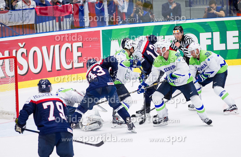 Tomas Surovy of Slovakia and Marian Gaborik of Slovakia vs Robert Kristan of Slovenia, Ales Kranjc of Slovenia, Sabahudin Kovacevic of Slovenia and Jan Mursak of Slovenia during Ice Hockey match between Slovakia and Slovenia at Day 5 in Group B of 2015 IIHF World Championship, on May 5, 2015 in CEZ Arena, Ostrava, Czech Republic. Photo by Vid Ponikvar / Sportida