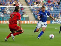 Photo: Kevin Poolman.<br />Leicester City v Colchester United. Coca Cola Championship. 23/09/2006. James Wesolowski (Leicester) looks for a way past Karl Duguid (Colchester).