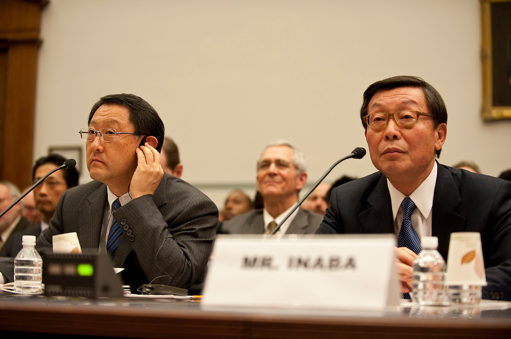 Feb 24,2010 - Washington, District of Columbia USA - .Akio Toyoda, the president and CEO of Toyota, and Yoshimi Inaba, President and COO of Toyota Motor North America, answer questions from members of the House Oversight and Government Reform committee on the recall of 8 million vehicles worldwide..(Credit Image: © Pete Marovich/ZUMA Press)