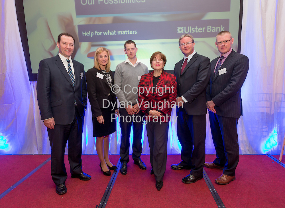 Repro Free no charge for Repr<br /> <br /> 7/2/2014<br /> Pictured here at the Ulster Bank Ahead for Business event, Lyrath Estate Hotel, Kilkenny, on Friday 7th February, (L-R) Ken Murnaghan Head of Business Banking Ulster Bank Maura O&rsquo;Keeffe, Head of Ulster Bank&rsquo;s, South Midlands Business Centre, John Kelly, Jill Kerby, personal finance journalist, Simon Barry, Chief Economist, Ulster Bank and Cathal Lowe Hooper Dolan Group.<br /> <br /> The Ahead for Business events are taking place in 15 locations across Ireland and are open to new and existing Ulster Bank customers. They include information on accessing finance, business planning and cash flow management. Ulster Bank recently announced it has a dedicated &euro;1.2billion available for businesses who are seeking finance to support their growth plans in 2014.<br /> <br /> <br /> Picture Dylan Vaughan.