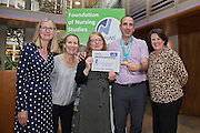 FoNS Team with Mile 24 runner at the Foundation of Nursing Studies Celebrating Innovation and Excellence held on 07 June 2016 1800-2000. <br /> <br /> Celebrating and sharing the innovative nurse-led work that makes health and social care excellent.<br /> <br /> In the presence of  Professor Tony Butterworth CBE, Chair of Trustees, FoNS and Dr Theresa Shaw, Chief Executive of FoNS Professor and Jane Cummings, Chief Nursing Officer, NHS England along with invited guests.<br /> <br /> Richard Tompkins Nurse Development Scholarships awarded to Rachel Bevan & Rebecca Lacey. <br /> <br /> Best Poster 'Person-centred Paediatric Care: Capturing the Experience and Collaborating for the Future' by Ruth Magowan, Ann Chalmers, Tracey Millin and Chrissie Smith