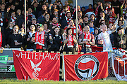 Whitehawk fans during the National League South Play Off 1st Leg match between Whitehawk FC and Ebbsfleet United at the Enclosed Ground, Whitehawk, United Kingdom on 4 May 2016. Photo by Phil Duncan.