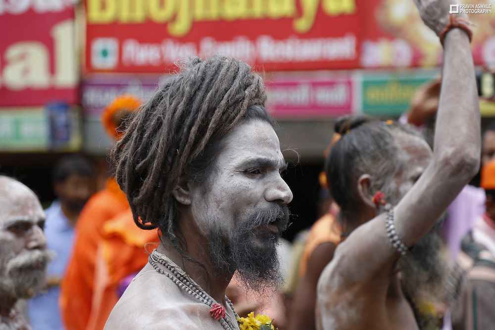 Sadhus in the colourfull cultural procession during kumbhmela, Trimbakeswar, Nashik India-2015
