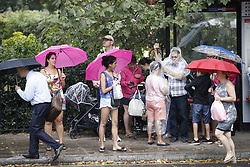 © Licensed to London News Pictures. 27/07/2018. London, UK.  Rain falls in central London breaking the weeks long heatwave. Thunder storms are expected in some parts of the UK today. Photo credit: Peter Macdiarmid/LNP