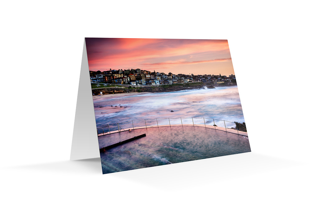 """Photo Art Greeting Card - Sydney Coastal Collection (Bronte Beach). Printed in Sydney on quality matte card stock, 174 x 123mm, blank inside, envelope included, packaged in sealed poly bag. Click """"Add to Cart"""" to choose your own mix of 5, 10, or 20 cards from this collection."""