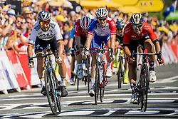 July 8, 2018 - La Roche-Sur-Yon, FRANCE - 180708 Peter Sagan of Bora–Hansgrohe cross the finish line to win the stage two of Tour de France on July 8, 2018 in La Roche-sur-Yon. .Photo: Fredrik Varfjell / BILDBYRÃ…N / kod FV / 150116 (Credit Image: © Fredrik Varfjell/Bildbyran via ZUMA Press)
