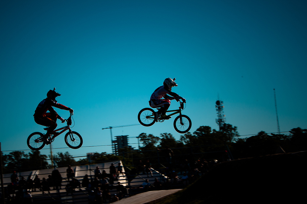 # 95 (NOBLES Barry) USA and  # 148 (VAN GENDT Twan) NED doing the GoPro run at the UCI BMX Supercross World Cup in Santiago del Estero, Argintina.
