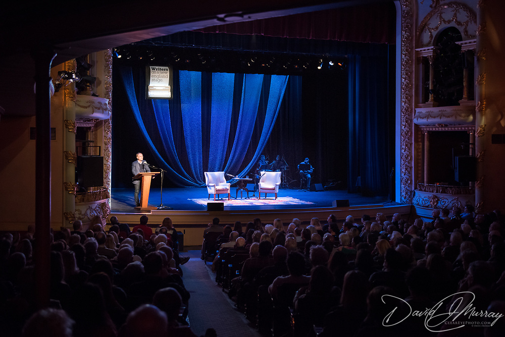 Author Dan Brown speaks during a Writers on a New England Stage show at The Music Hall in Portsmouth, NH