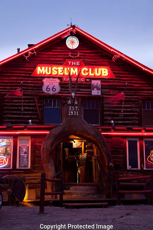 Route 66, Flagstaff, Museum Club, neon, twilight, dance hall, country music, Arizona, AZ