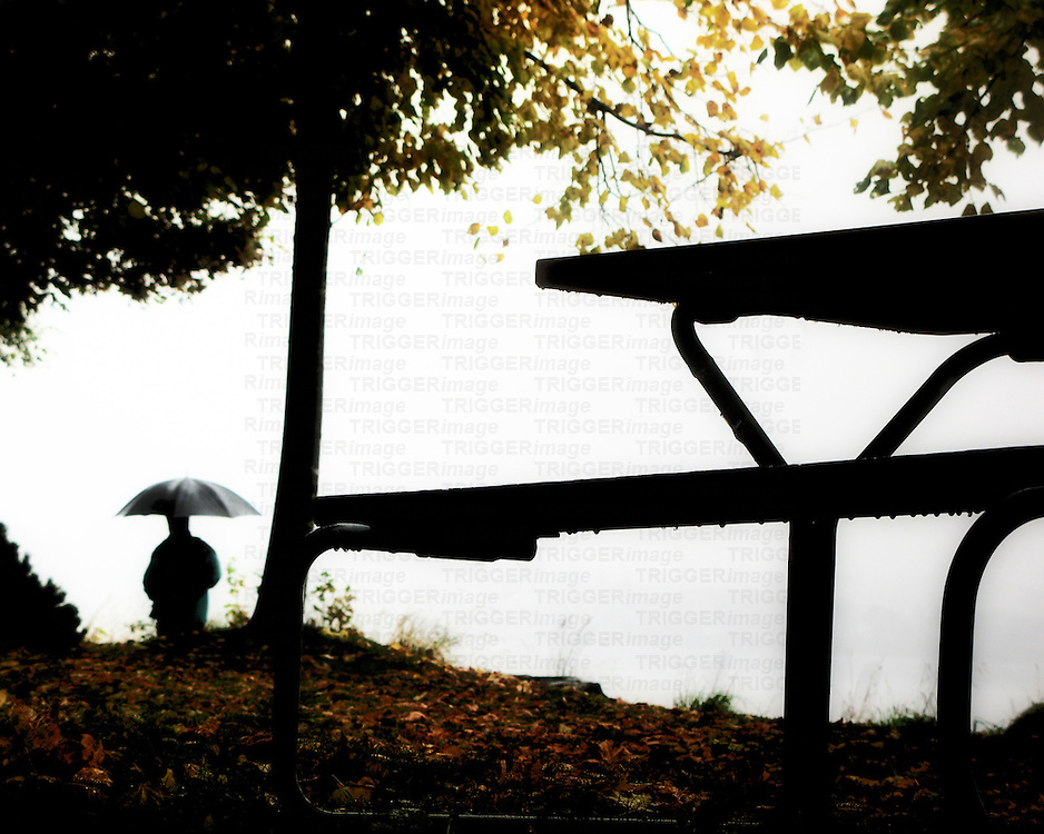 A figure in a park holding an umbrella walking away