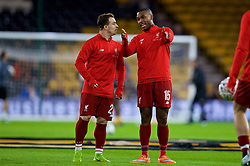 WOLVERHAMPTON, ENGLAND - Monday, January 7, 2019: Liverpool's Sheridan Shaqiri (L) and Daniel Sturridge during the pre-match warm-up before the FA Cup 3rd Round match between Wolverhampton Wanderers FC and Liverpool FC at Molineux Stadium. (Pic by David Rawcliffe/Propaganda)