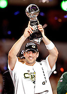Green Bay Packers' Aaron Rodgers with the Vince Lombardi Trophy after winning the Super Bowl. .The Green Bay Packers played the Pittsburgh Steelers in Super Bowl XLV,  Sunday February 6, 2011 in Cowboys Stadium. Steve Apps-State Journal.
