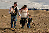 Family, walking, foothills of Absaroka Mountains, southwest of Livingston, Montana, Reinke Family
