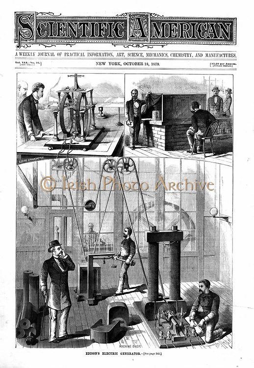 Edison generator for electric light at Menlo Park. Behind  doors is the 80 hp engine. The two vignettes (top) are Edison's improved form of JW Trowbridge's electric dynamometer and Thomson's mirror galvanometer. 'Scientific American' New York 1879.