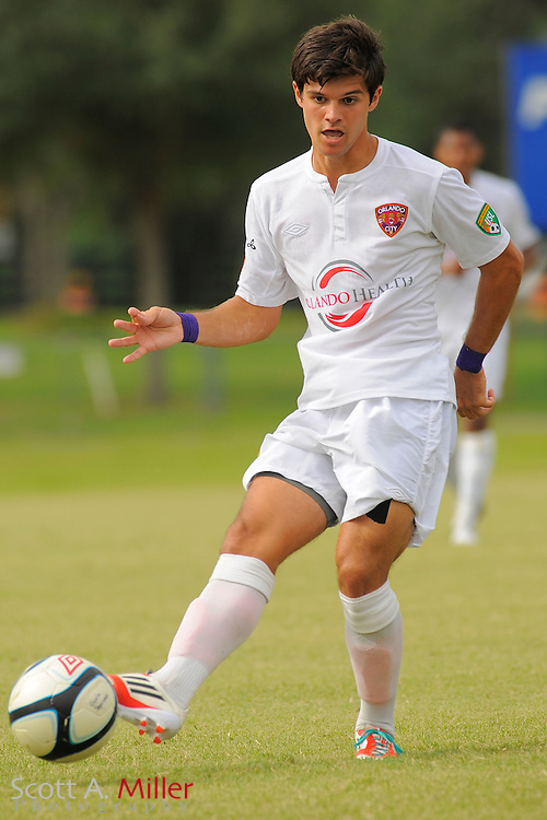 Orlando City midfielder Anthony Arico (19) during City's 4-2 win over the Austin Aztex in PDL Southern Conference Championships final at Trinity Catholic High Schooll on July 22, 2012 in Ocala, Florida. ..©2012 Emily A. Miller