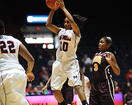"""Ole Miss' Whitney Hameth (30) vs. Central Michigan at C.M. """"Tad"""" Smith Coliseum in Oxford, Miss. on Wednesday, December 14, 2011."""