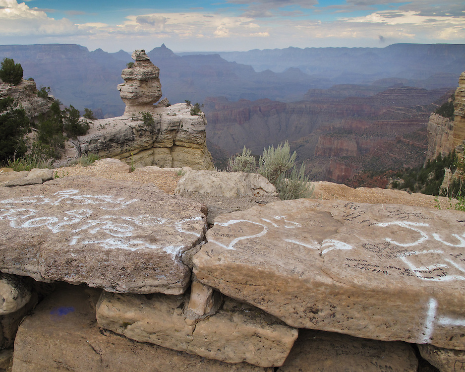 Graffiti at Duck on a Rock on the South Rim of Grand Canyon National Park.